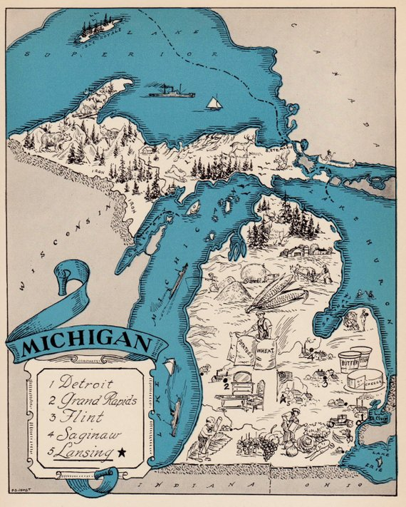 30's Vintage MICHIGAN Picture Map of Michigan State Cartoon ... on
