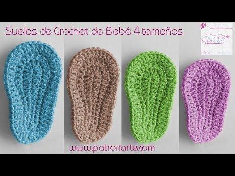 meilleur site web e56e6 993a3 Semelles au crochet pour chaussons de bébé (Taille naissance ...