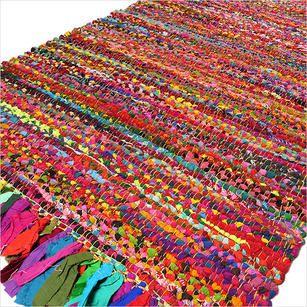 Bright Colorful Decorative Chindi Bohemian Boho Rag Rug