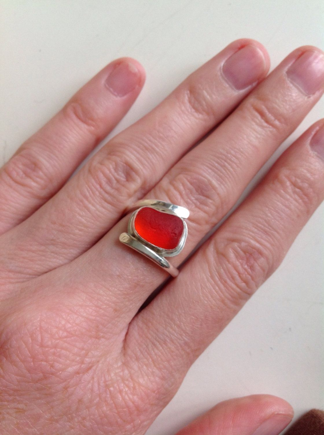 Handmade English sea glass and sterling silver ring - UK O US 7.5 ...