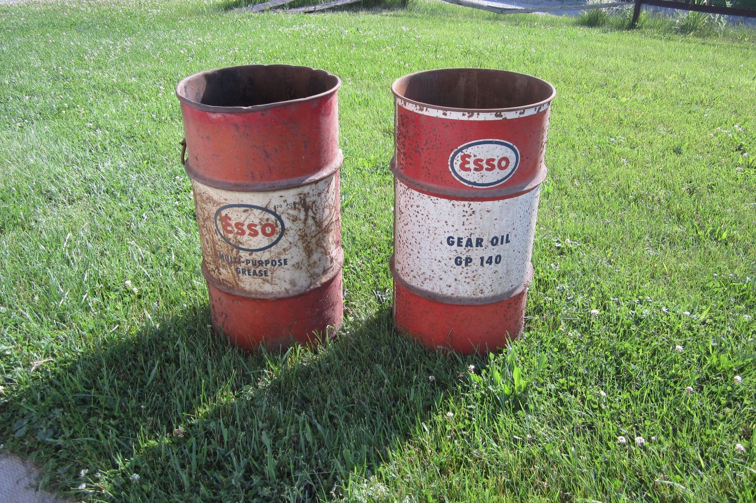 Choice of Antique ESSO  Barrel Drum Red White and Blue Rusted 1960s Service Station Can. $85.00, via Etsy.