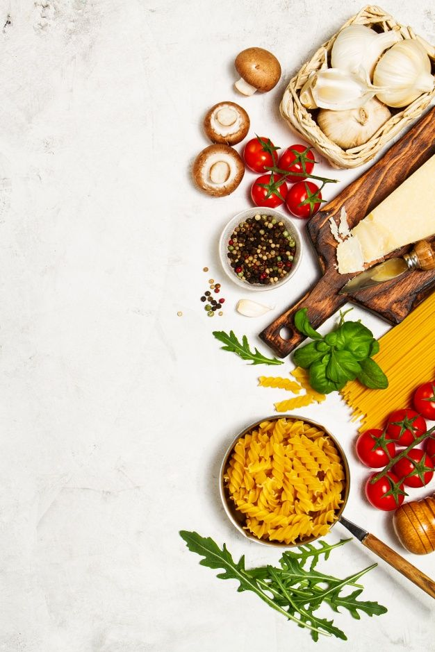 Wallpaper Food Cooking Grill Vegetables Peppers: Raw Pasta With Tomatoes And Spices With A Cutting Board