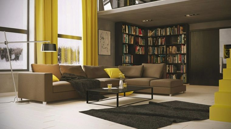 Idée couleur salon : salons modernes aux accents jaunes   Salon ...