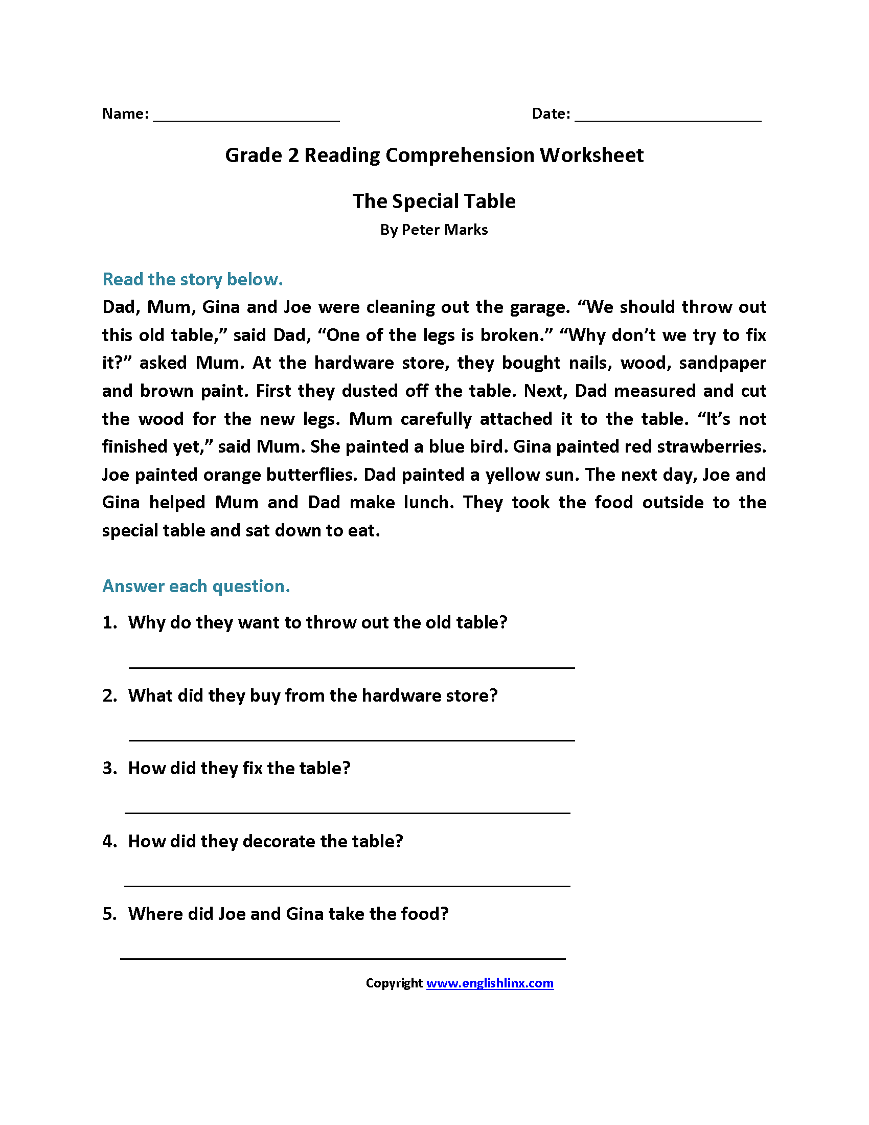 The Special Table Second Grade Reading Worksheets
