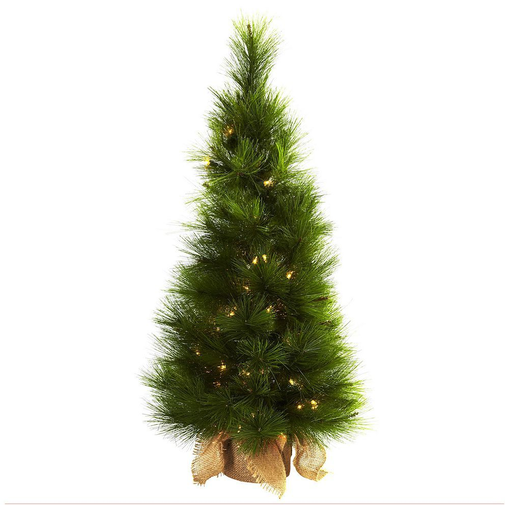 nearly natural 3 ft potted pre lit artificial christmas tree indoor