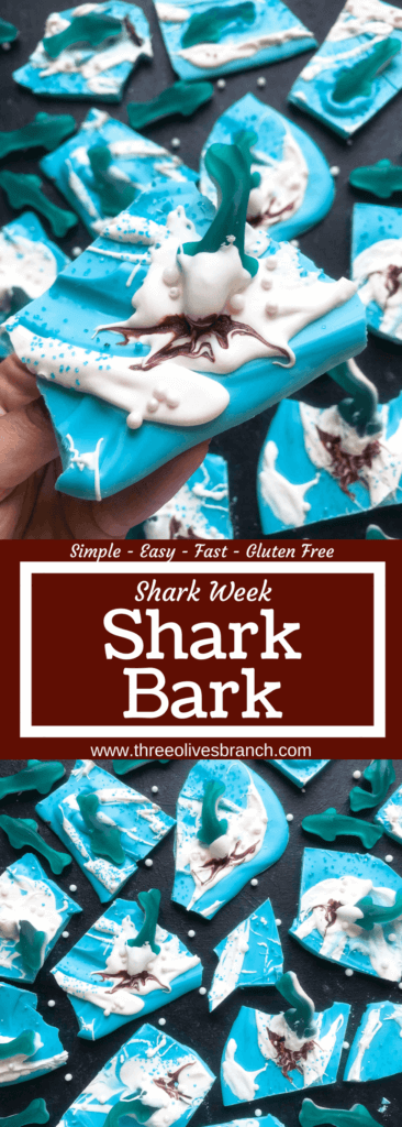 Shark Week Shark Bark #sharkweekfood Just 10 minutes to make Shark Bark! Candy melts with sprinkles, gummy sharks, and a shark attack scene using red food gel. Gluten free (GF) quick and easy dessert recipe for shark or ocean party. Shark Week Shark Bark | Three Olives Branch | www.threeolivesbranch.com #sharkweek #ocean #sharkattack #sharkweekfood Shark Week Shark Bark #sharkweekfood Just 10 minutes to make Shark Bark! Candy melts with sprinkles, gummy sharks, and a shark attack scene using red #sharkweekfood