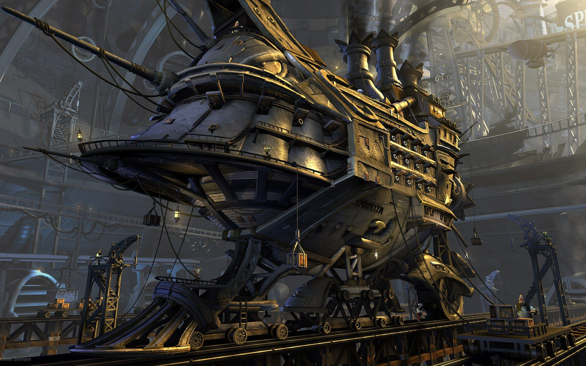 30 cool steampunk wallpapers design trends - Sci Fi Steampunk Ship Vehicle Sci Fi Wallpaper