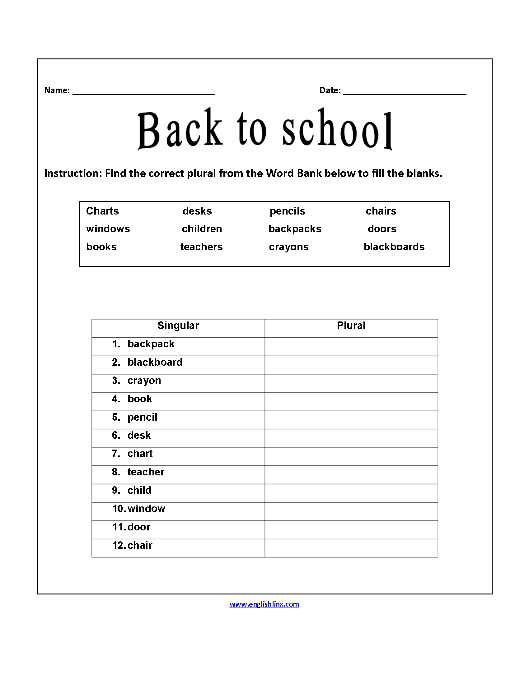 Correct Plurals Back To School Worksheets