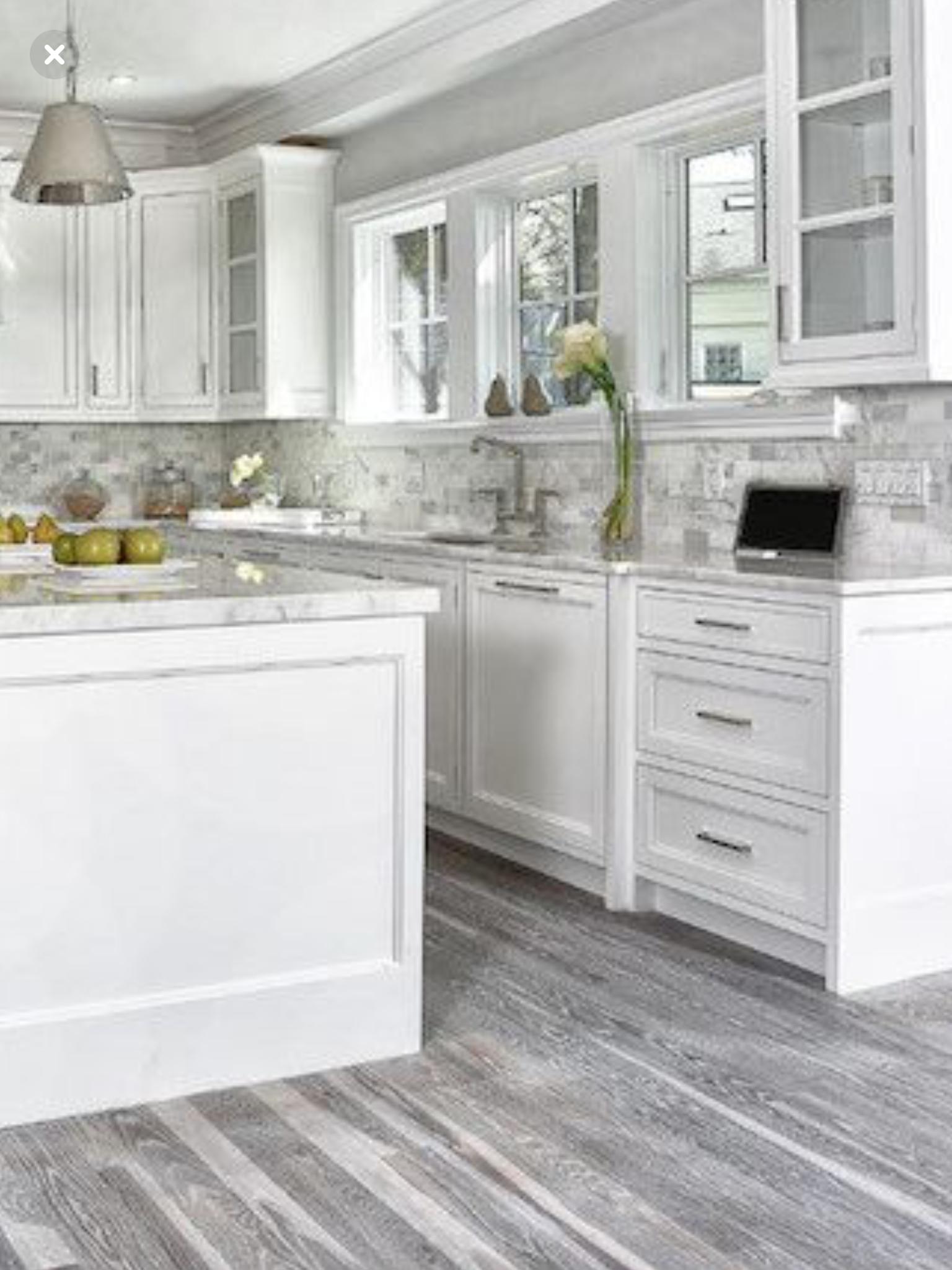 Grey floors, white Grey kitchen walls, White