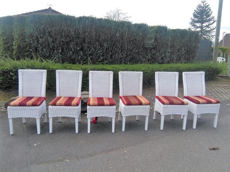 Stühle Stuhl Weiß Shabby Holz Rattan Sitzpolster
