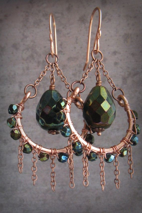Hand forged copper hoops with peacock green by southwinddesign, $36.00
