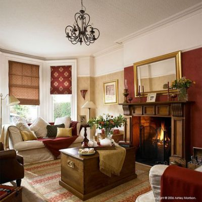 Warm Burgundy And Cream Living Room
