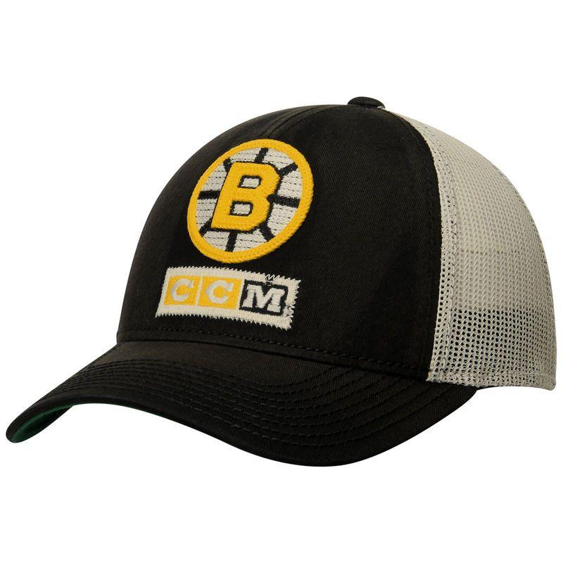 Boston Bruins CCM Structured Meshback Adjustable Hat - White/Black