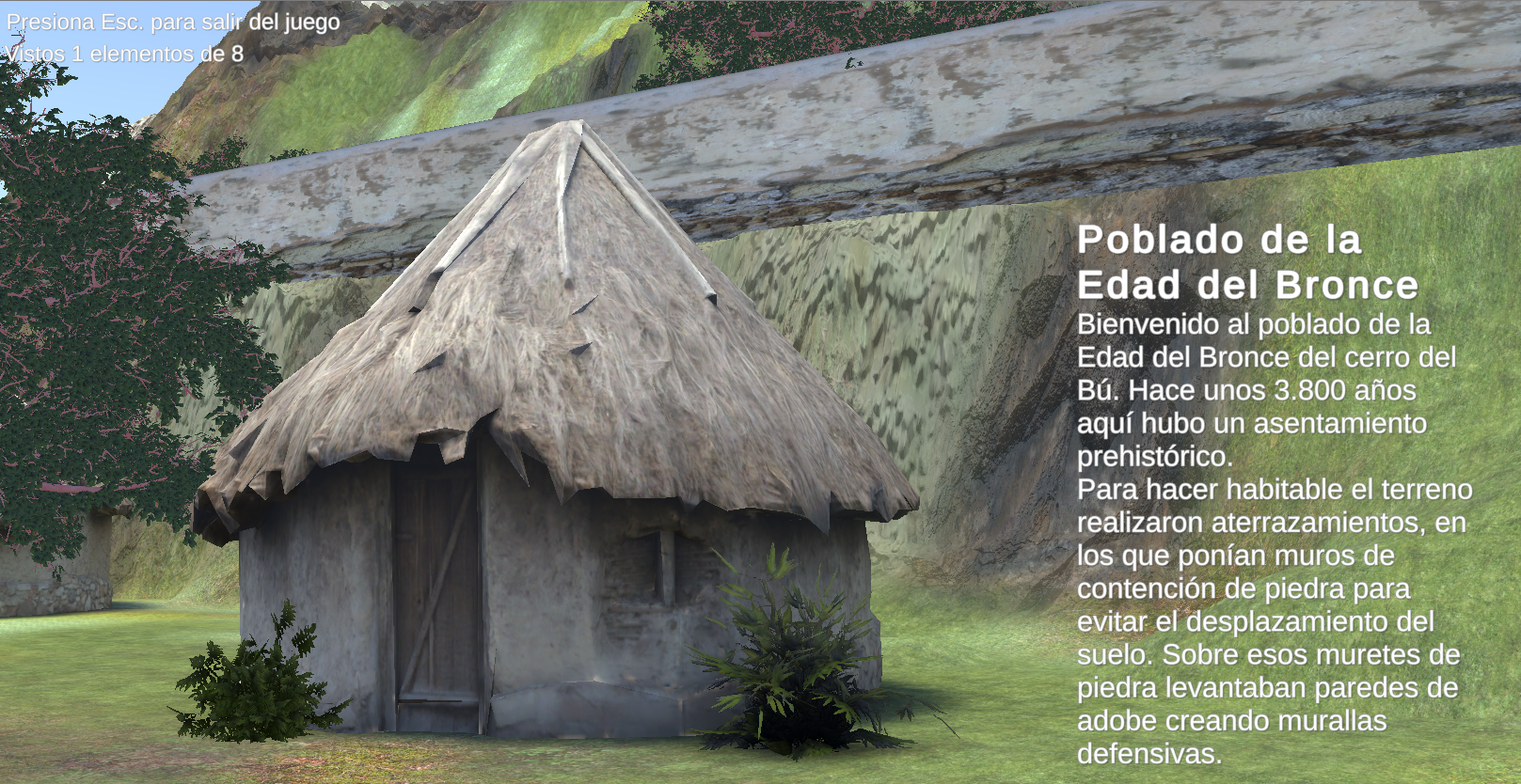 Pantallazo del videojuego, en él se aprecia una cabaña y el texto explicativo que habla de cómo era el poblado