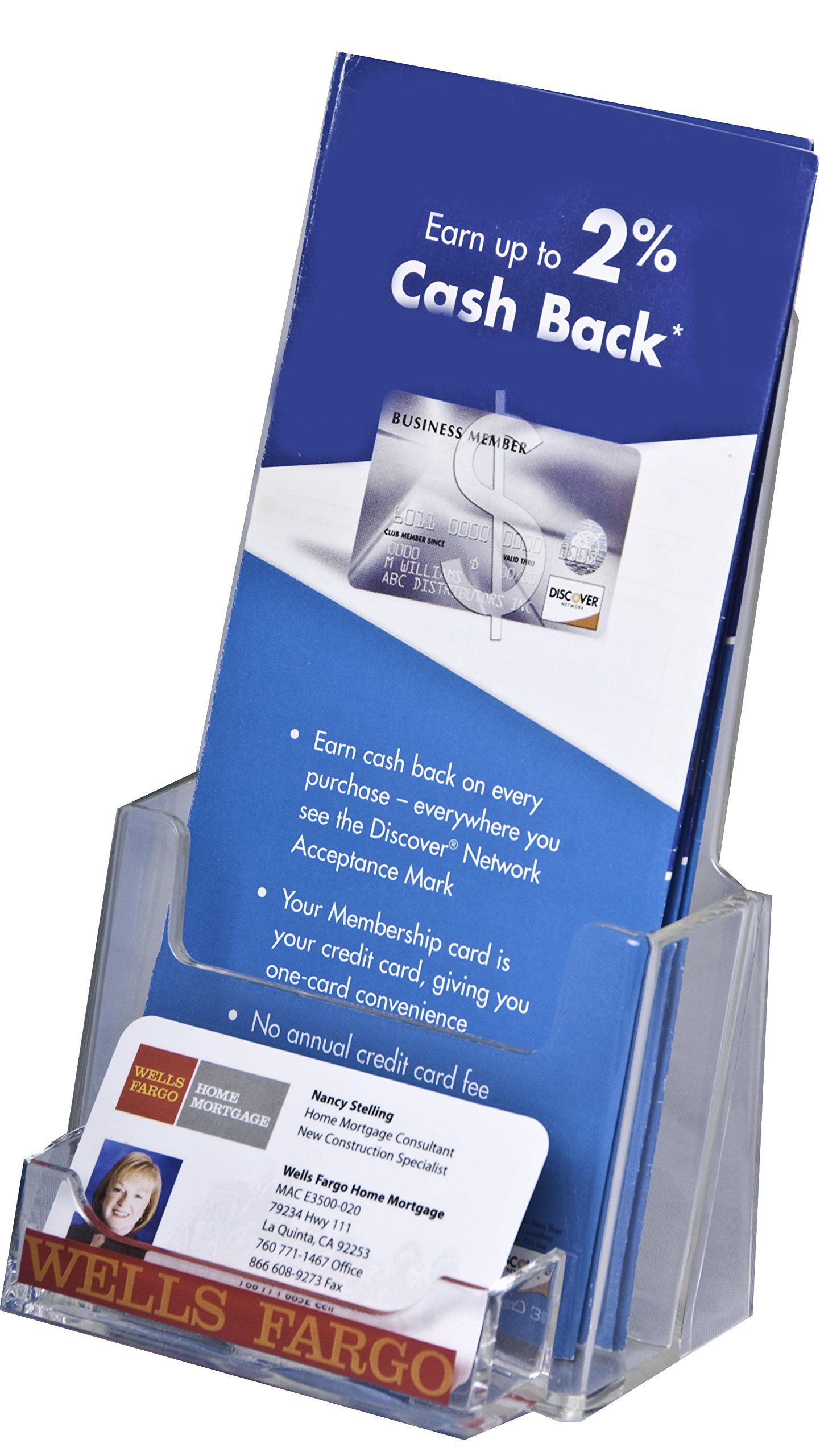Clear ad lhf p100 tri fold brochure holder with business card clear ad lhf p100 tri fold brochure holder with business card pocket wholesale pack of 60 colourmoves