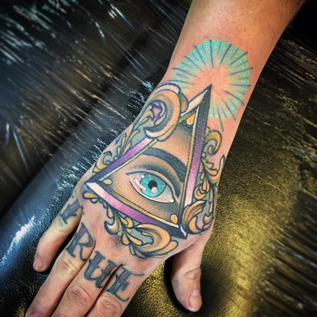 Triangle Eye Tattoo on Hand Tatuaje ojo, Tatuajes en la