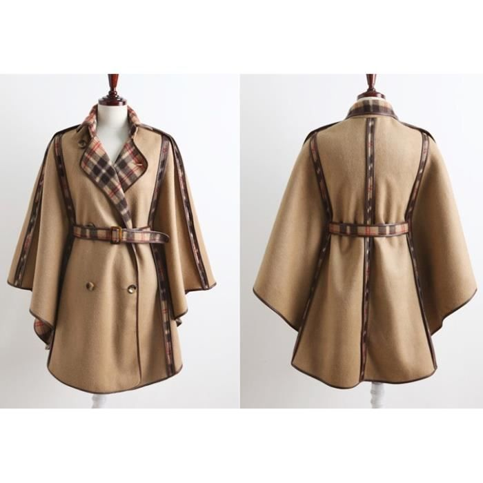 manteau caban poncho r versible tartan veste manteau cape femme artumes co pinterest. Black Bedroom Furniture Sets. Home Design Ideas