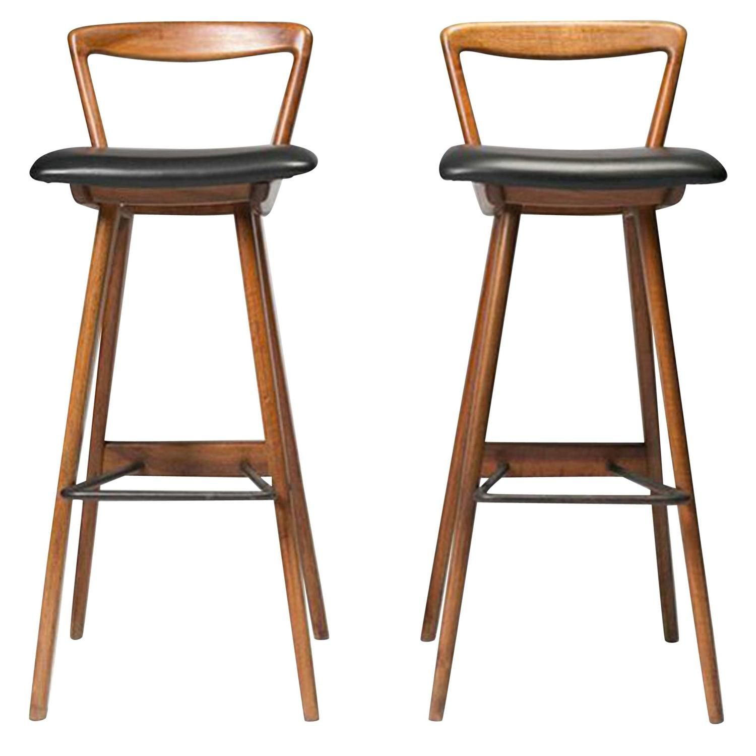 Contemporary Furniture And Stools: Mid-Century Modern Teak Barstools By Rosengren Hansen In