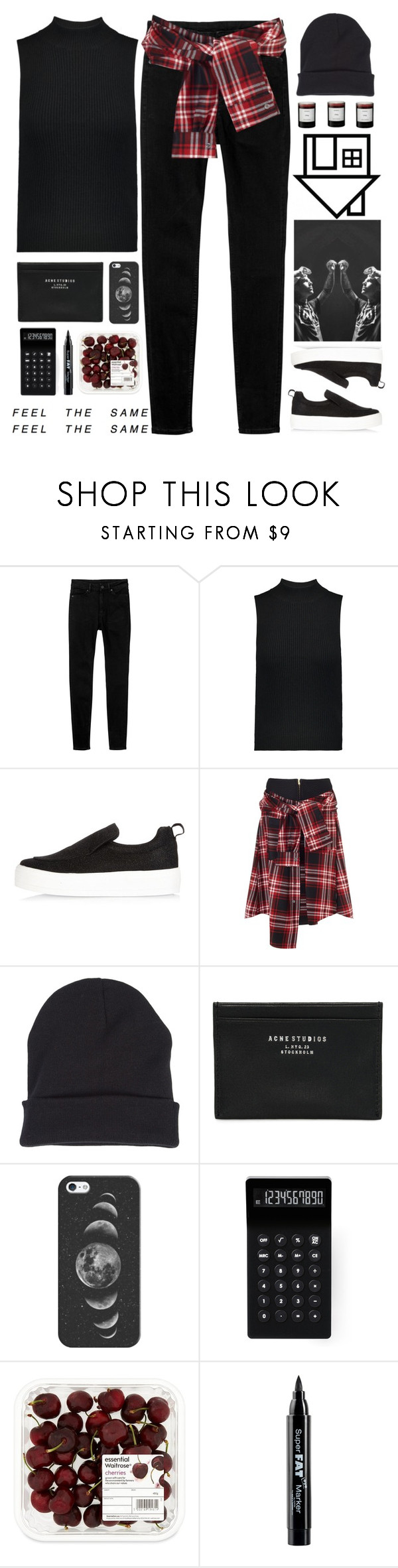 """""""The Neighbourhood-Cry Baby"""" by holunderbluete ❤ liked on Polyvore featuring Monki, Theory, River Island, David Szeto, Columbia, Acne Studios, Casetify, LEXON, AME and NYX"""