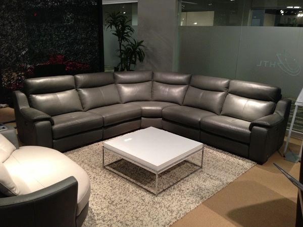 Grey leather sectional by HTL Furniture. // www ...