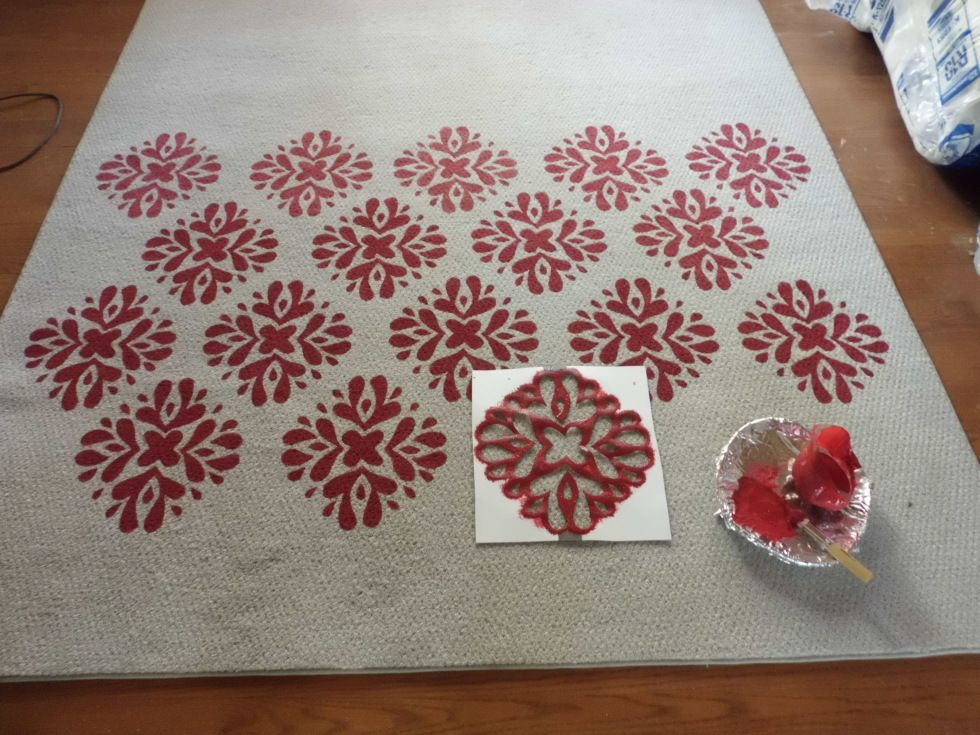 Fall Pinterest Challenge A Painted Rug Painted Rug Drop Cloth Rug Fabric Painting