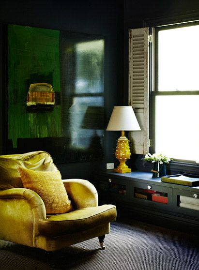 Great Colors Yellow Chair And Lamp Black Walls Dark