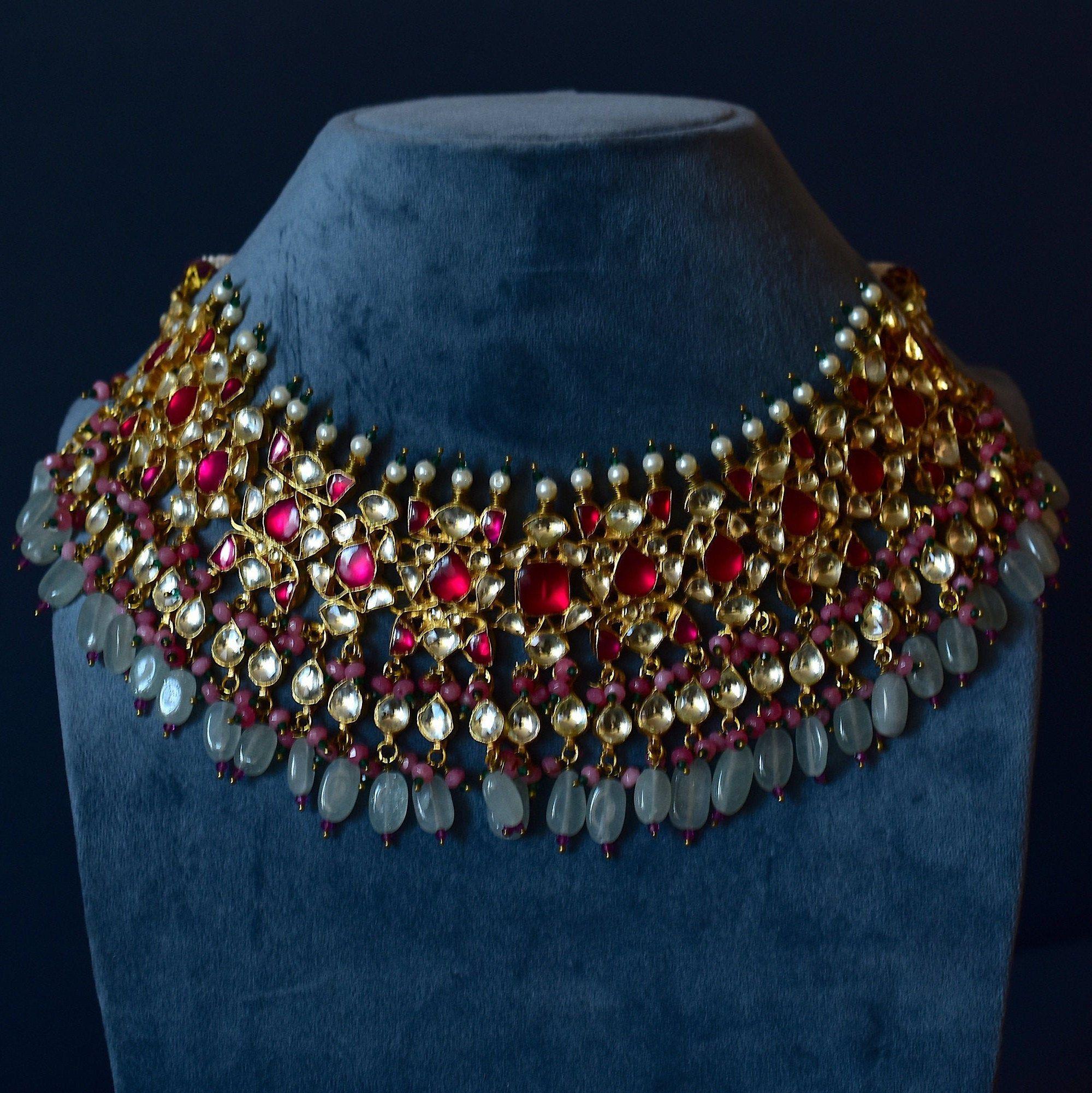 Indian Bridal Jewelry Kundan Necklace Kundan necklace Indian wedding Bollywood Necklace