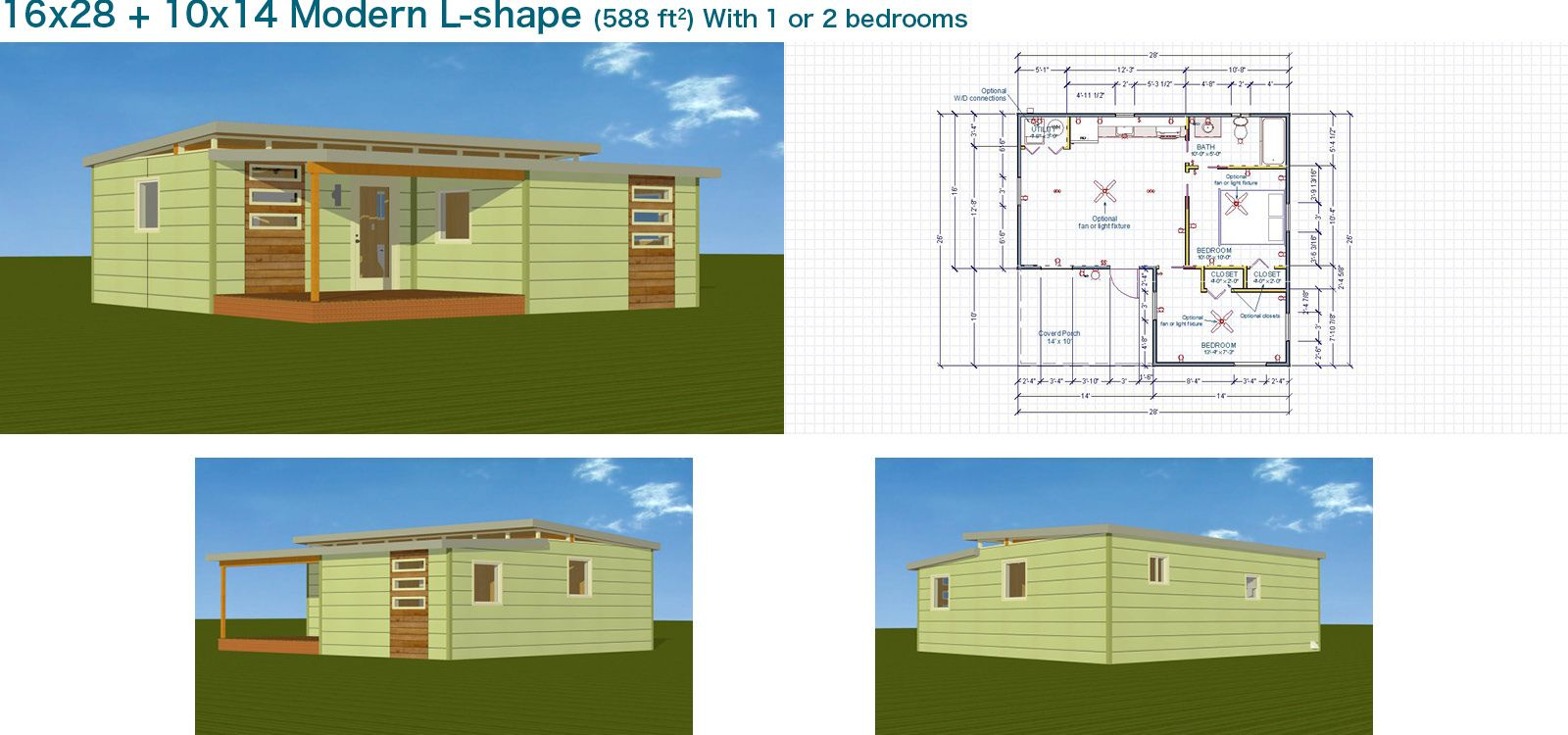 16x28 10x14 modern l shape kangaroom systems cabin and
