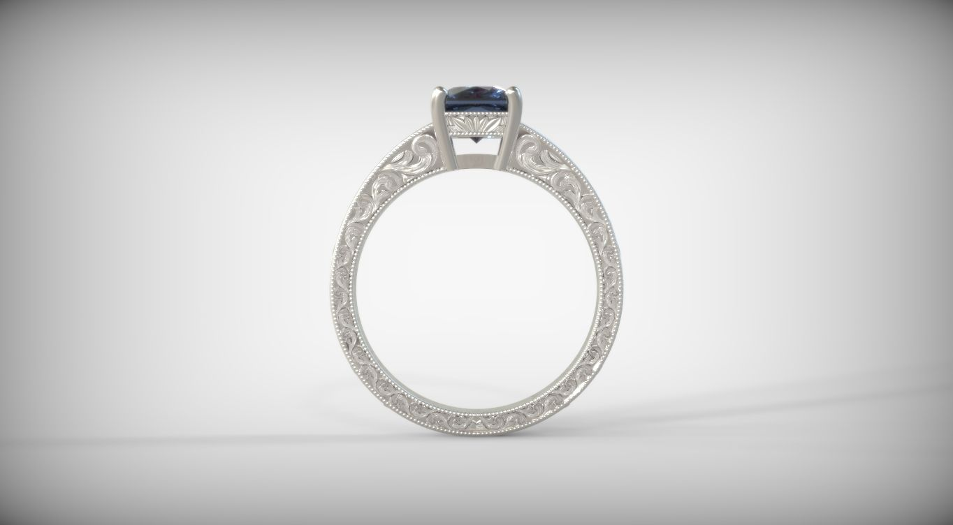 Custom Cushion Sapphire Milgrain Antique Solitaire Engagement Ring Setting in White Gold