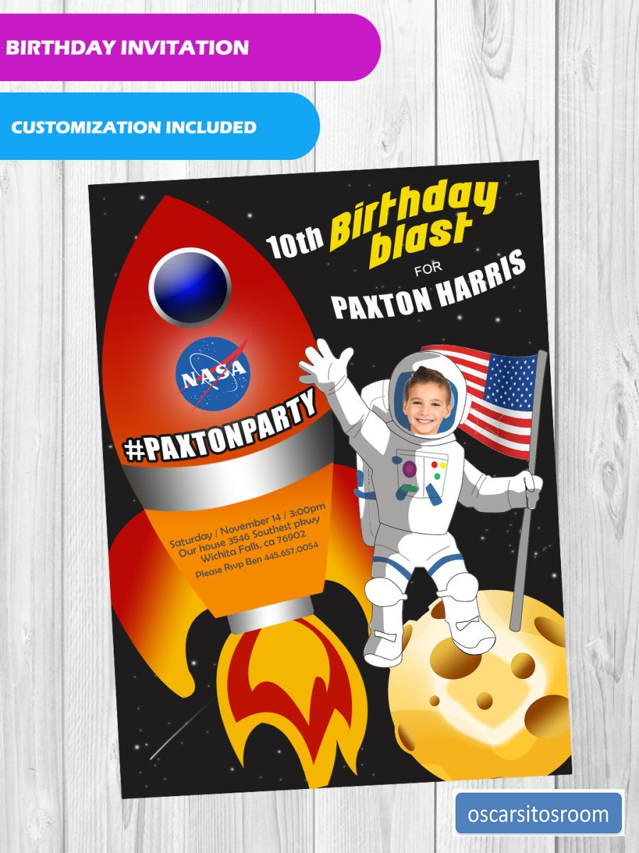OUTER SPACE, ROCKET SHIP BIRTHDAY INVITATION FOR BOY