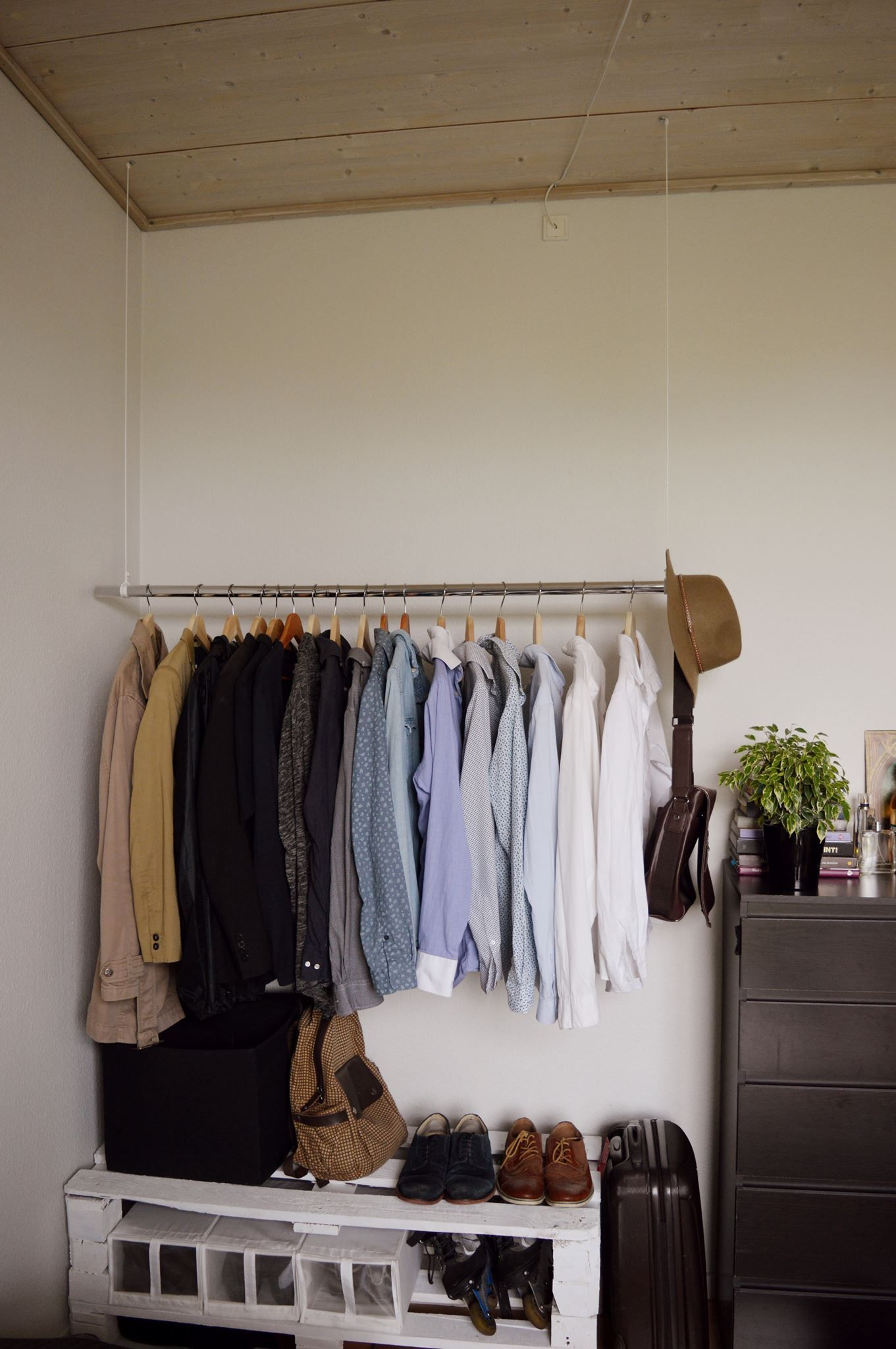 Men Clothes Hanger From Ceiling, Shelve From Pallets Handcraft Room