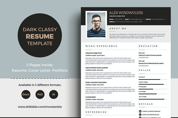 Dark Classy Resume (3 Pages) by Template Olympus on - resume business cards