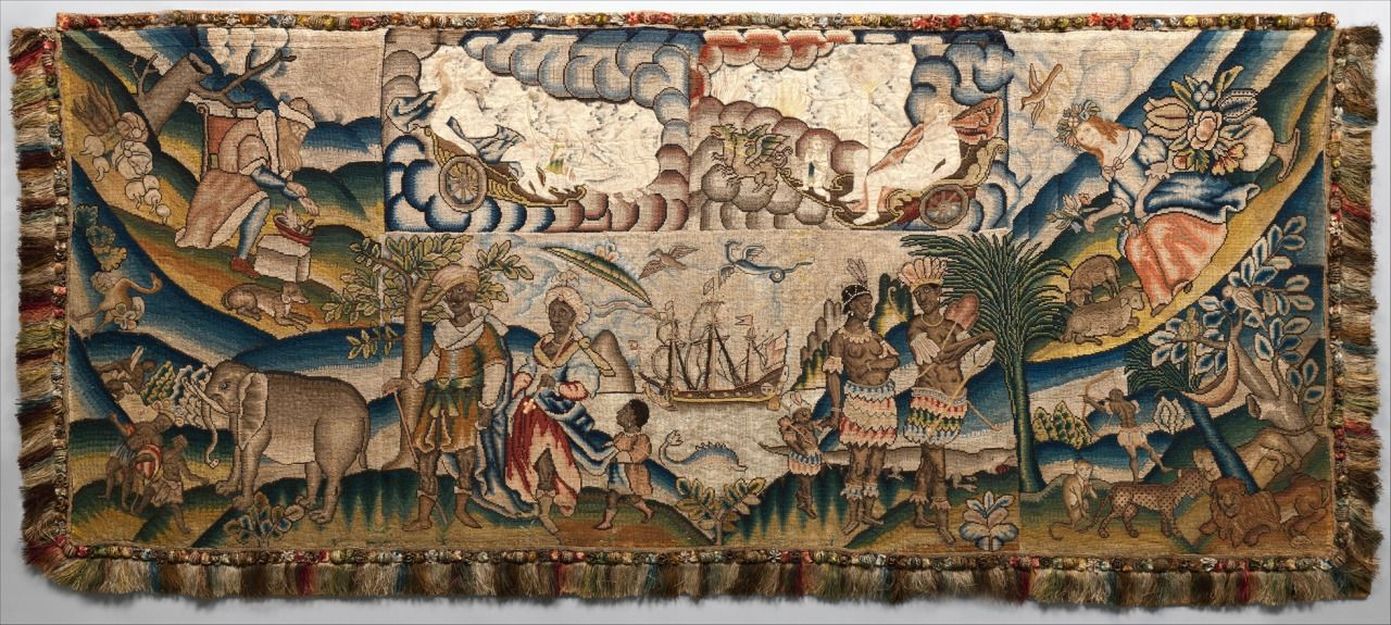 Panel from a table carpet showing the four seasons the