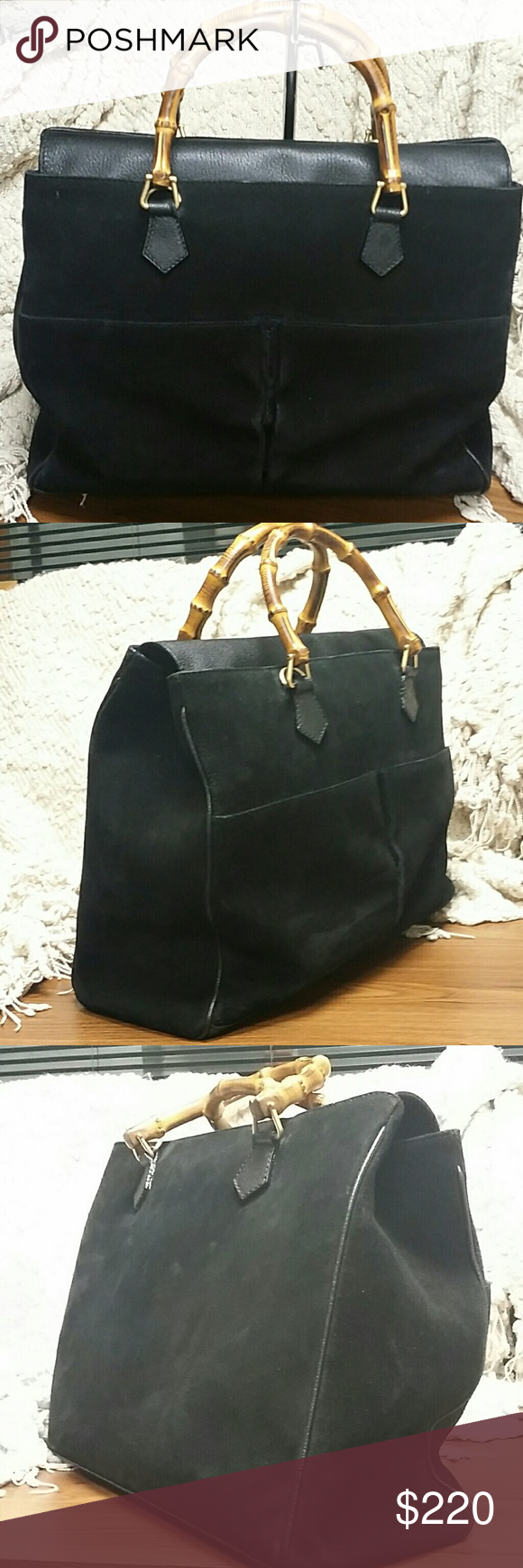 6a899c34582 Authentic Gucci bamboo two way Very large. Comes with original long leather  crossbody strap.