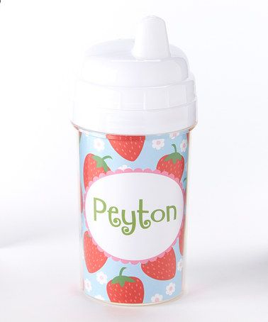 Look at this #zulilyfind! Strawberries Personalized Sippy Cup #zulilyfinds