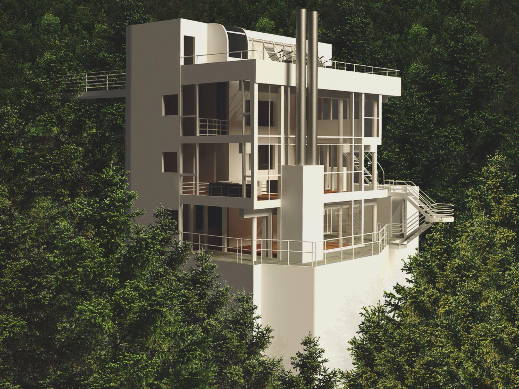 Douglas house by richard meier 3d rhino render by gilbert for Maison richard