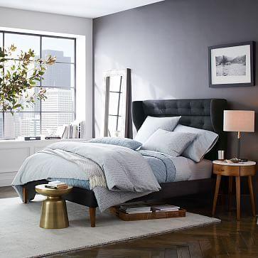 Grid-Tufted Upholstered Tapered Leg Bed | Pinterest