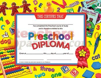 Preschool diploma template with versions in Word and PDF formats ...