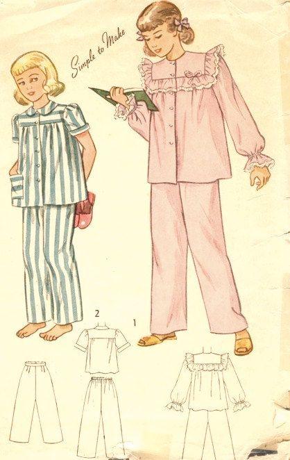 1940s Girls Pajamas   WW2 Children   Pinterest   Schnittmuster ...