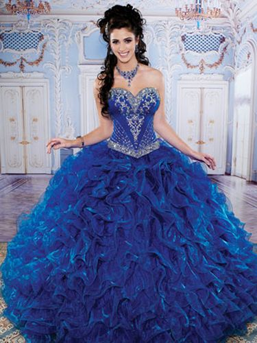 Puffy Royal Blue Quinceanera Dresses Sweetheart Diamond Beaded ...