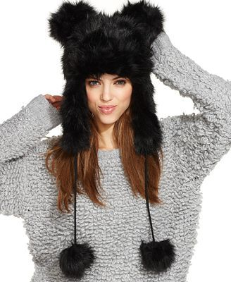 Betsey Johnson faux fur trapper hat with ears. I have this in white and  it s the best hat ever! 1be590ddb2e