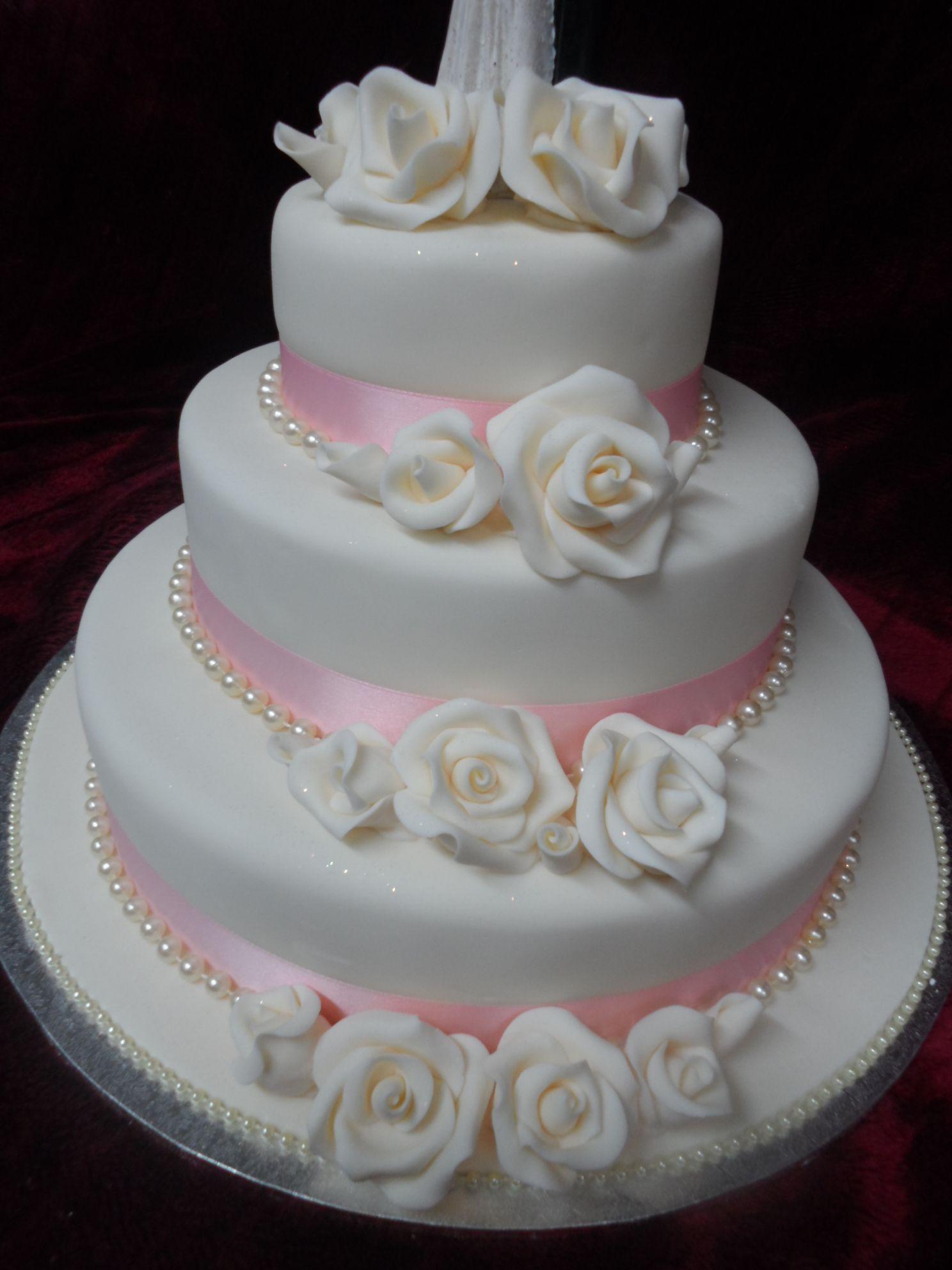 3 tier Round Rose themed wedding cake frescowoosh.co.nz
