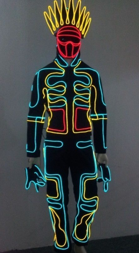 Iluminate like Tron King LED Robot Costume Night Club party EDM Rave ...