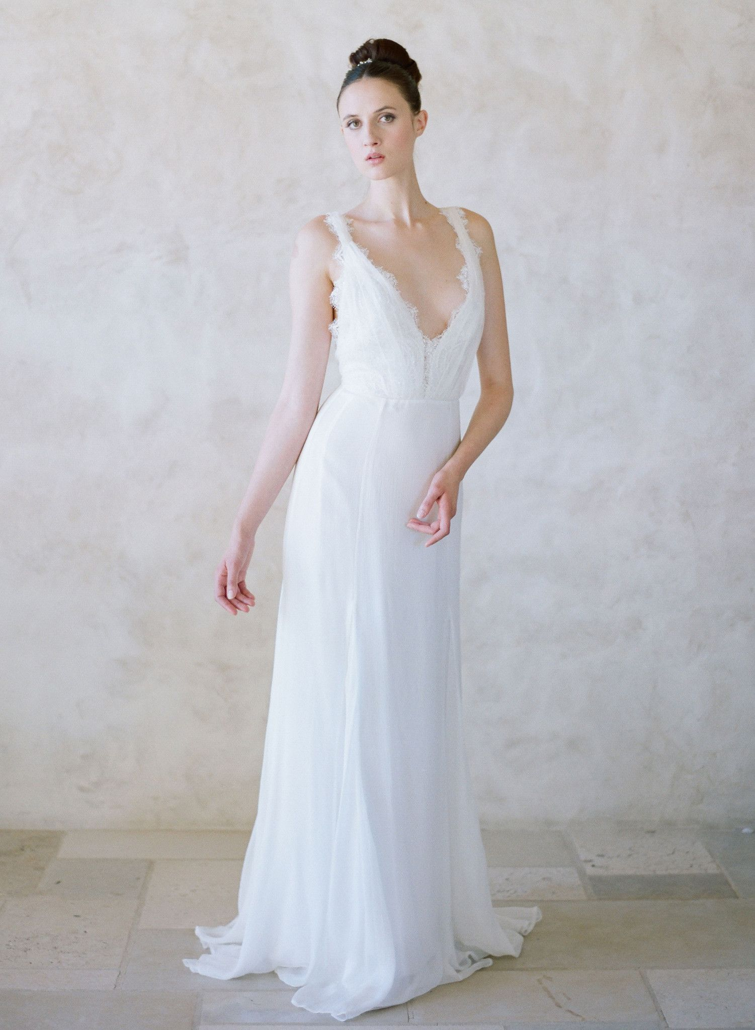 Pacific grecian inspired lace and silk gown style th