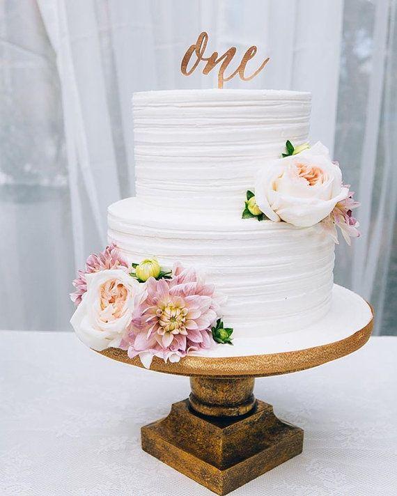 Happy Birthday Gold Cake Topper 1x 4 Wood Laser By LetsTieTheKnot