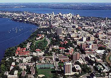 An Aerial View Of The Madison Isthmus And The University Of
