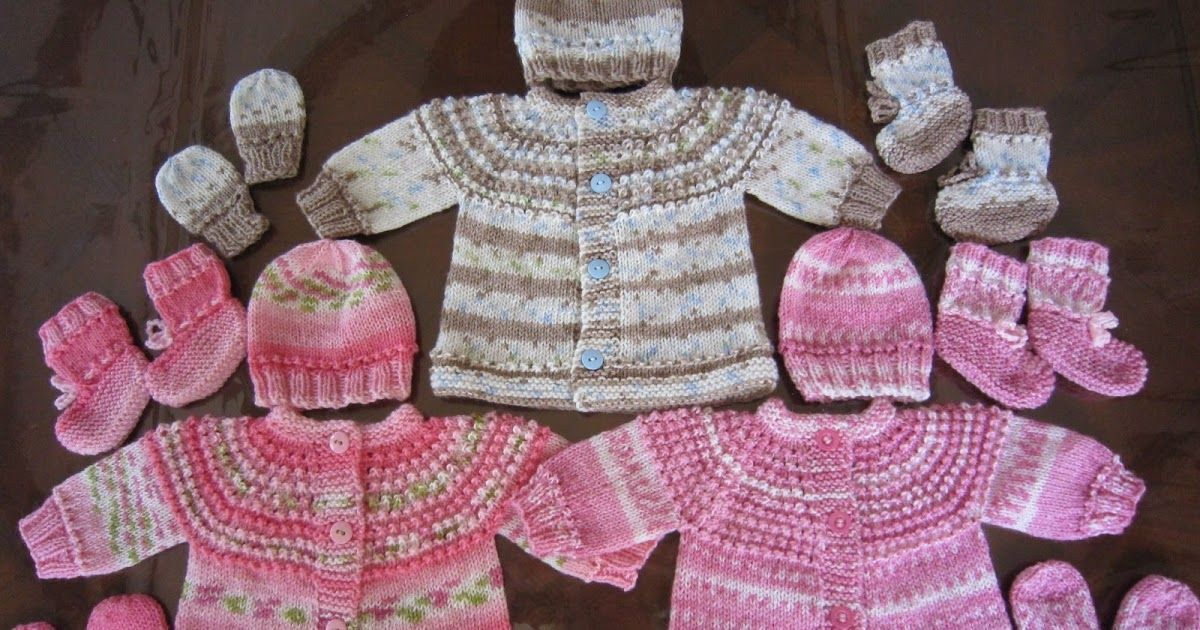 PREEMIE AND NEWBORN SEAMLESS SWEATER, HAT, MITTENS AND BOOTIES SET ...