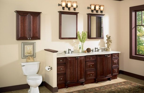 Raised Panel Burgundy Bathroom Cabinets Master Bath Pinterest - Semi custom bathroom cabinets for bathroom decor ideas