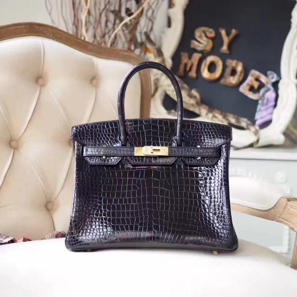b81b0207c2 Hermes Birkin 30 Shiny Black Alligator skin Bag Gold Hardware ...