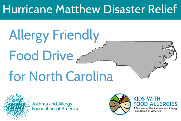 Allergy-Friendly Food Drive: Help North Carolina Families Affected by Hurricane Matthew